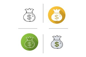 Money bag. 4 icons. Vector