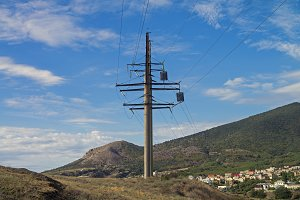 Power line pylon in the mountains