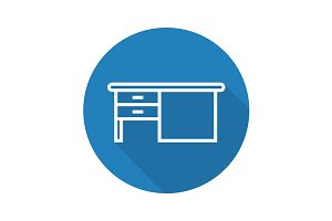 Writing desk icon. Vector
