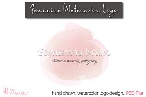 Feminine Watercolor Logo - PSD