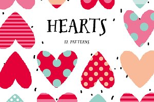 Hearts. 12 patterns