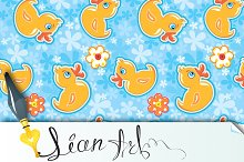 Seamless pattern with yellow duck