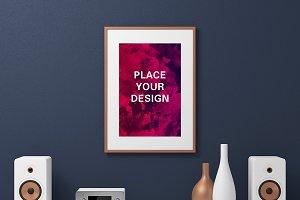 Wooden Frame Poster Mockup