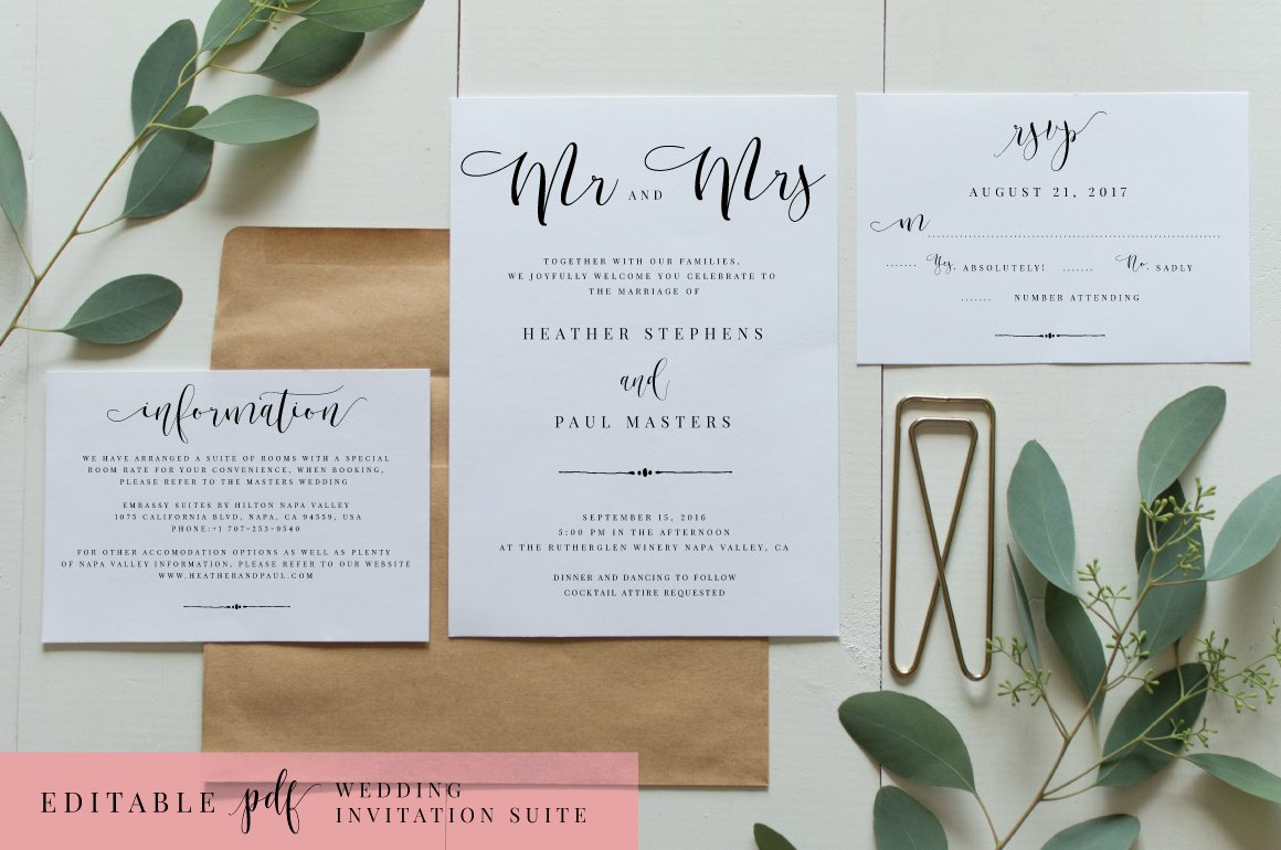 Wedding Invitation Suite Templates: Wedding Invitation Suite-Editable