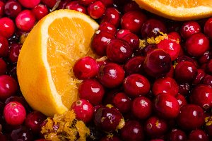 Cranberries and oranges mix
