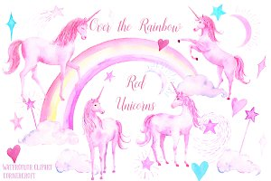 Watercolor Pink Unicorns