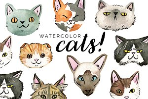 Watercolor Cats! Clipart Set