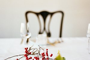 White Cloth Dinner Table Setting