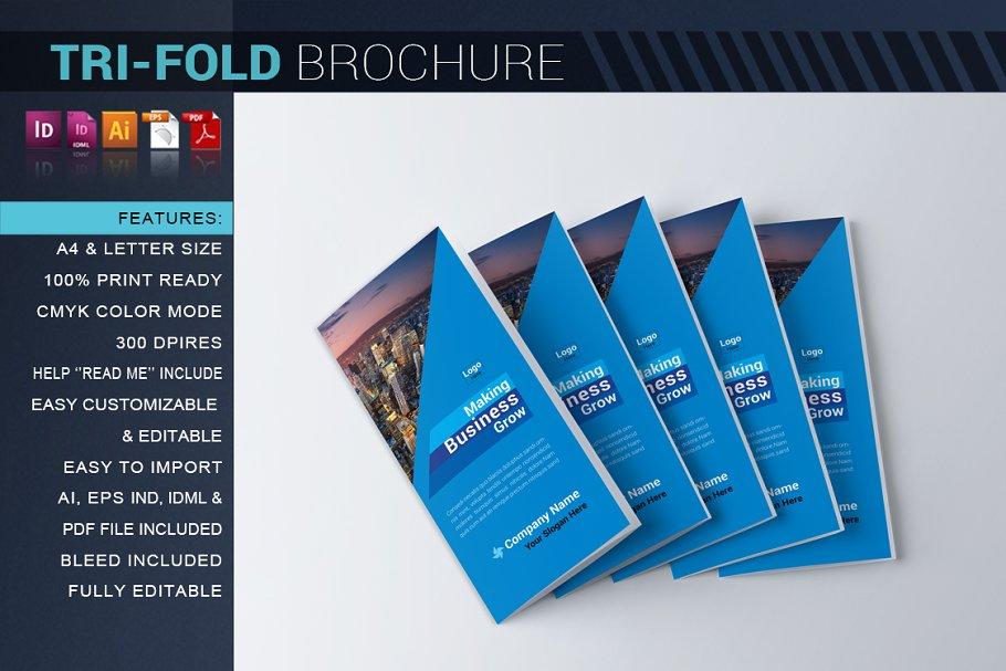 Corporate Tri-Fold Brochure ~ Brochure Templates ~ Creative
