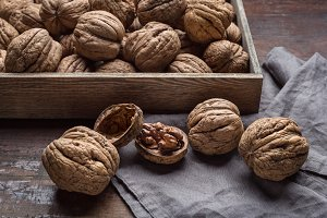 Large walnuts in a studio.