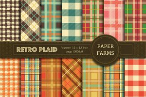 Retro Plaid digital paper