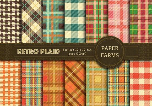 Retro Plaid digital paper  in Patterns