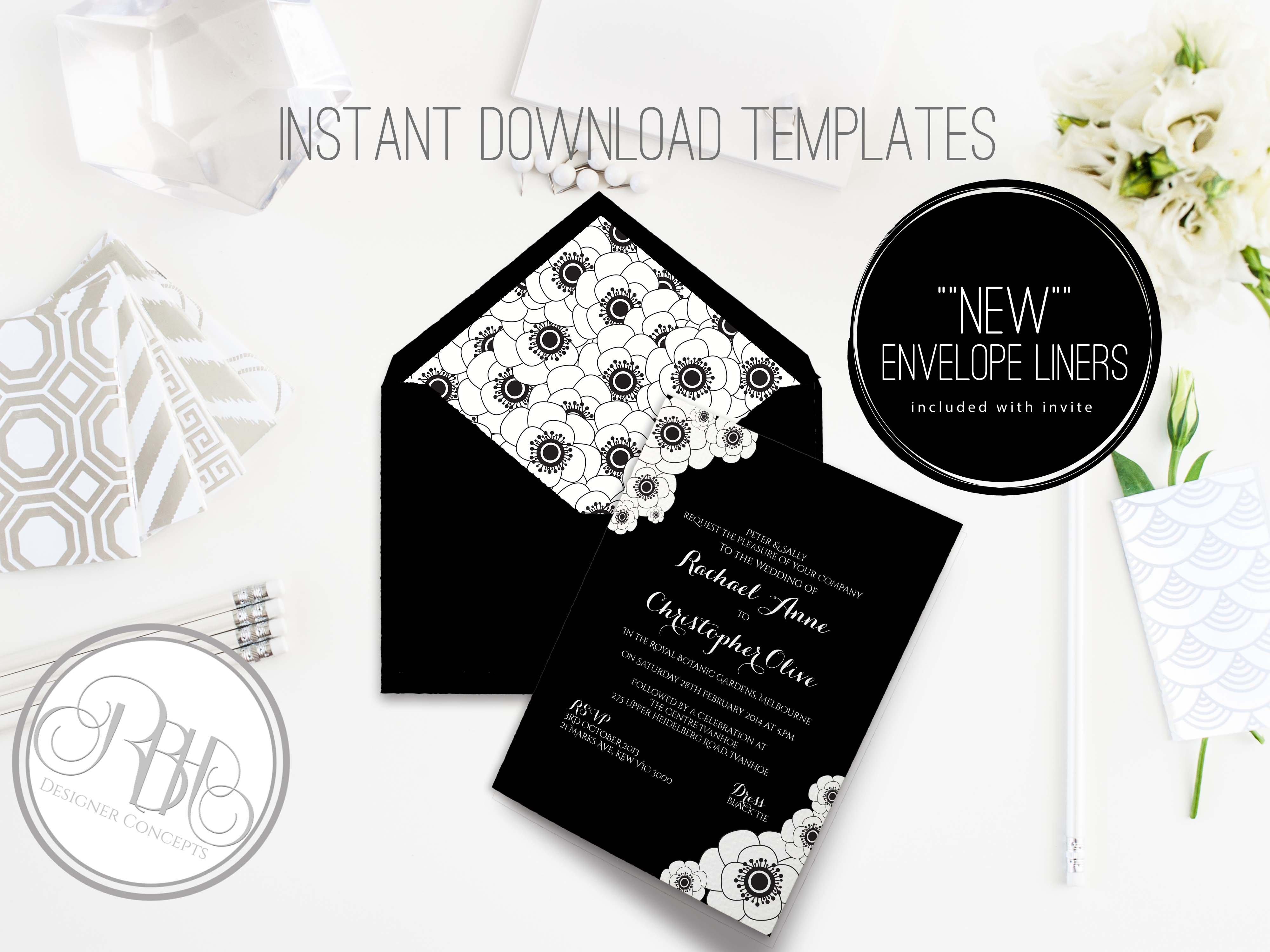 Black & White Invite Template ~ Invitation Templates ~ Creative Market