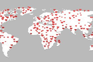 world map with many heart symbol 3d rendering