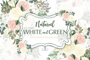 Watercolor Natural White and Green