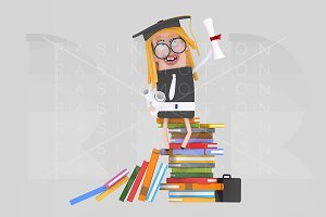 3d illustration. Graduate young girl