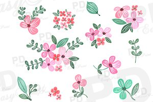 Pink Hand painted Watercolor flowers