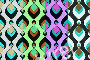 4 seamless pattern retro .