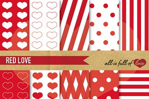 Red Printable Digital Paper Set