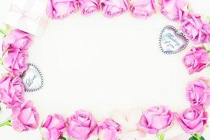 Valentines day violet roses frame