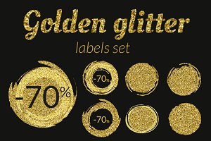 Golden glitter sale vector labels