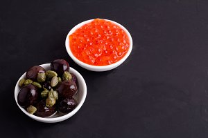 red caviar and olive