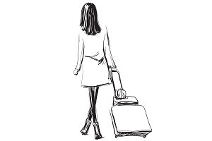 Fashion girl with suitcase. Travel.