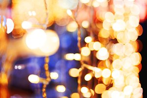 Blurred holiday light bulbs