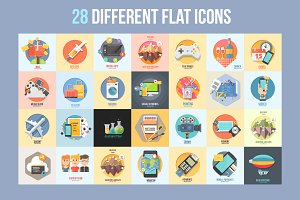 Set of 28 Different flat icons