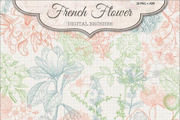 French Flower Brushes 2