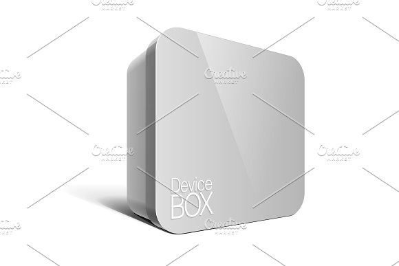 Realistic Grey Package Box