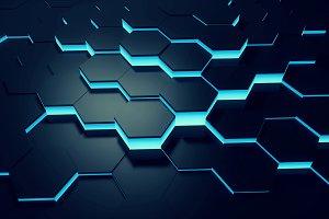 Glowing blue hexagon background