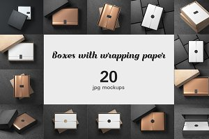 20 Boxes with wrapping paper Mockups