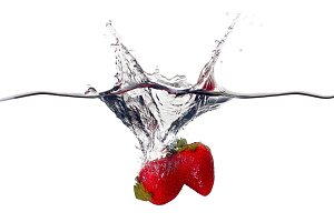 Fresh Strawberries Splash in Water