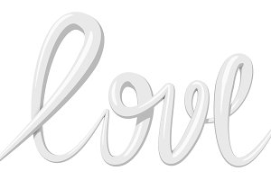 Love calligraphy 3D text