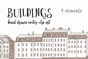 Hand drawn buildings vector clip art