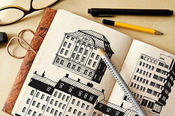 Hand drawn buildings vector clip art
