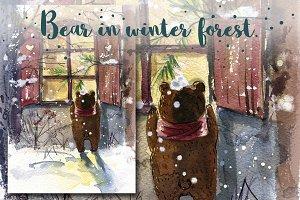 Bear in winter forest.