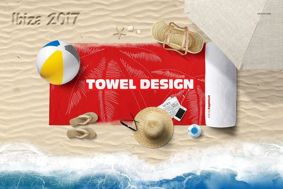 Beach Towel Scene Mockup in Product Mockups - product preview 1