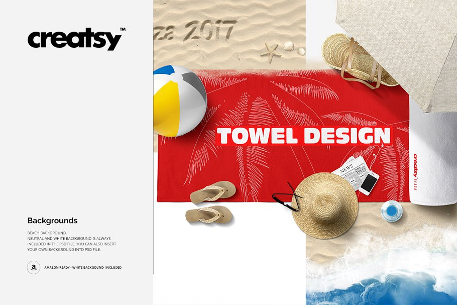 Beach Towel Scene Mockup in Product Mockups - product preview 3