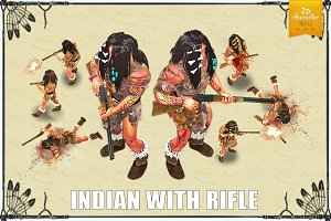 2D Indian warrior with rifle