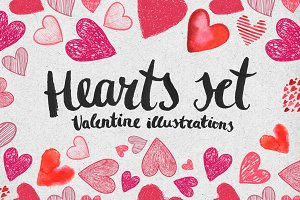 Hearts set. Valentine illustrations