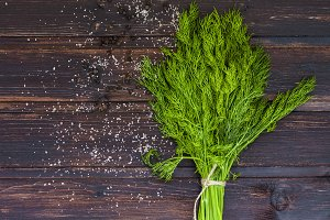 dill on wooden background