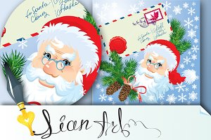 Christmas envelop and Santa Claus