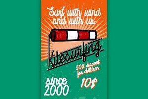 Color vintage kitesurfing banner