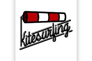 Color vintage kitesurfing emblem