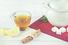 Tea with lemon and sugar