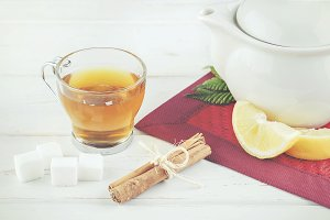 Tea with lemon and sugar