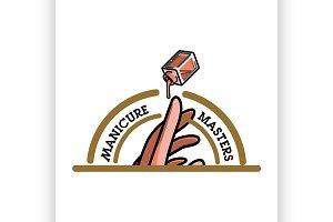 Color vintage manicure emblem
