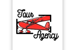 Color vintage tour agency emblem